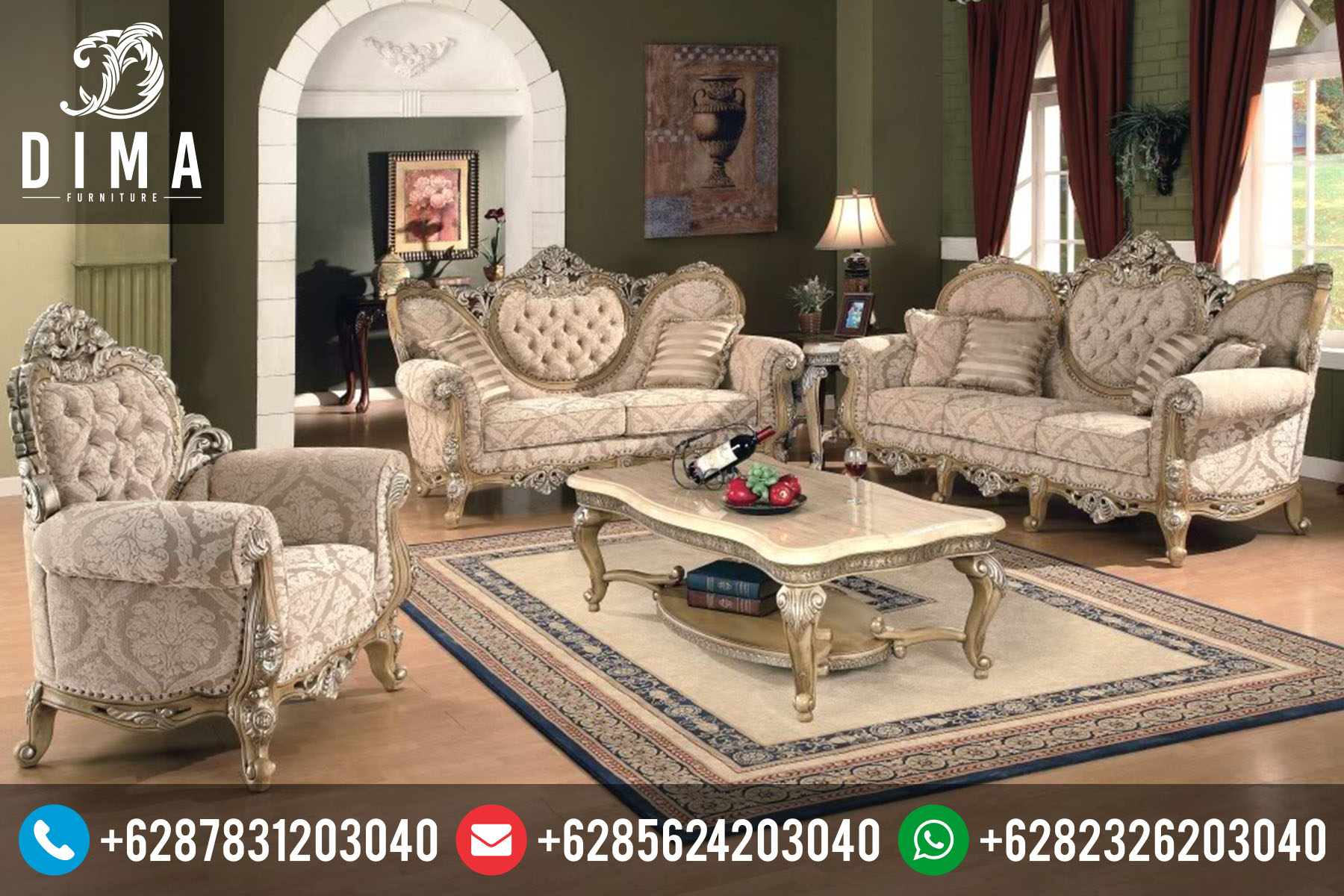 Mebel Mewah Jepara Set Kursi Sofa Tamu Klasik Ukir Terbaru ST-0050