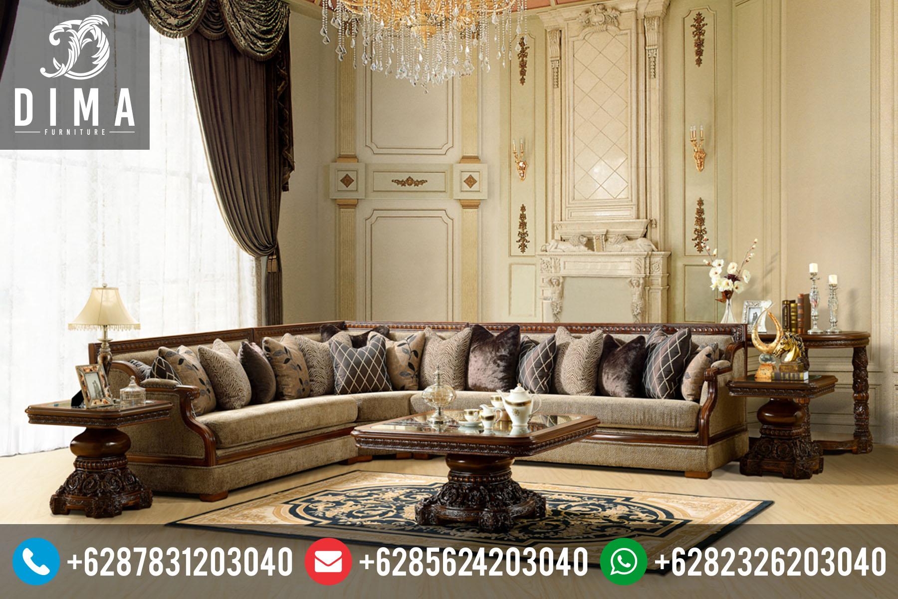 Mebel Mewah Jepara Set Kursi Sofa Tamu Sudut L Klasik Terbaru ST-0048