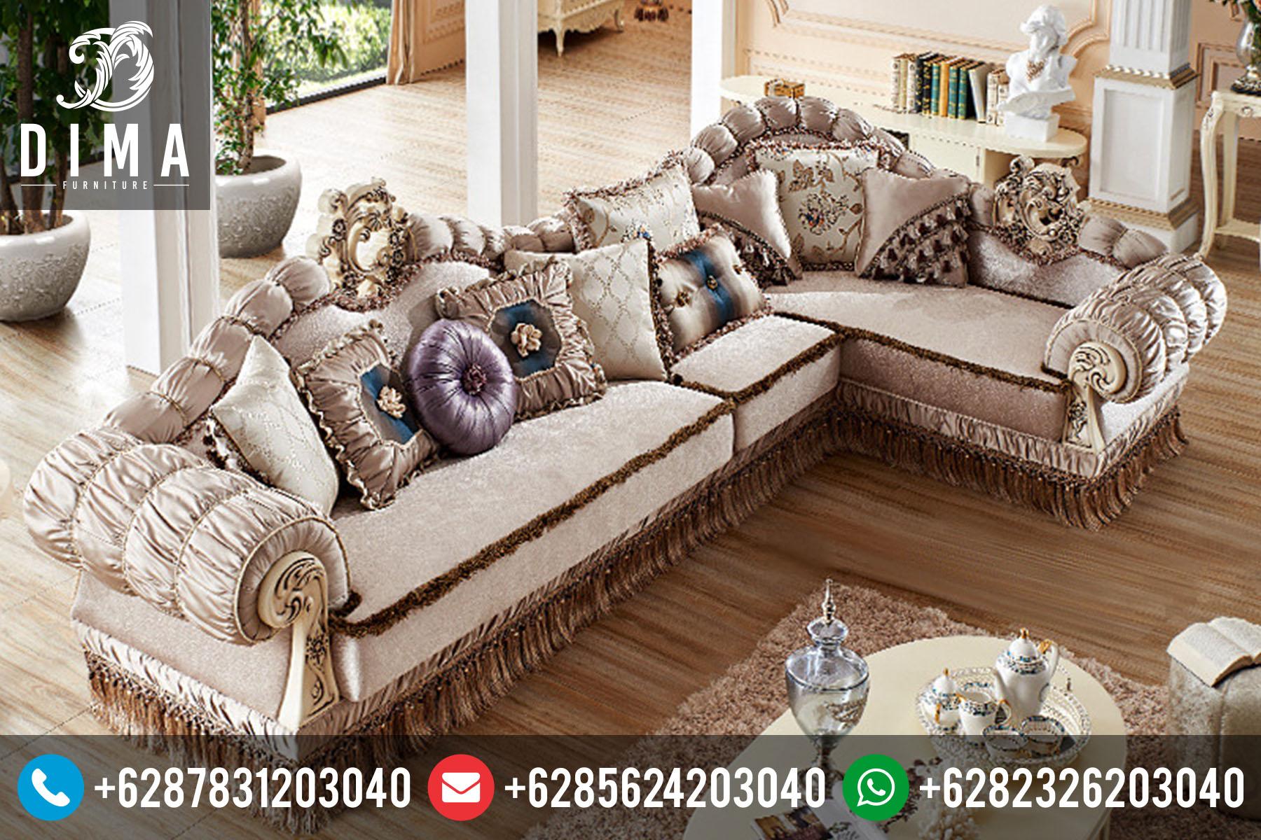 Set Kursi Sofa Tamu Sudut L Mewah Klasik Duco Terbaru ST-0031