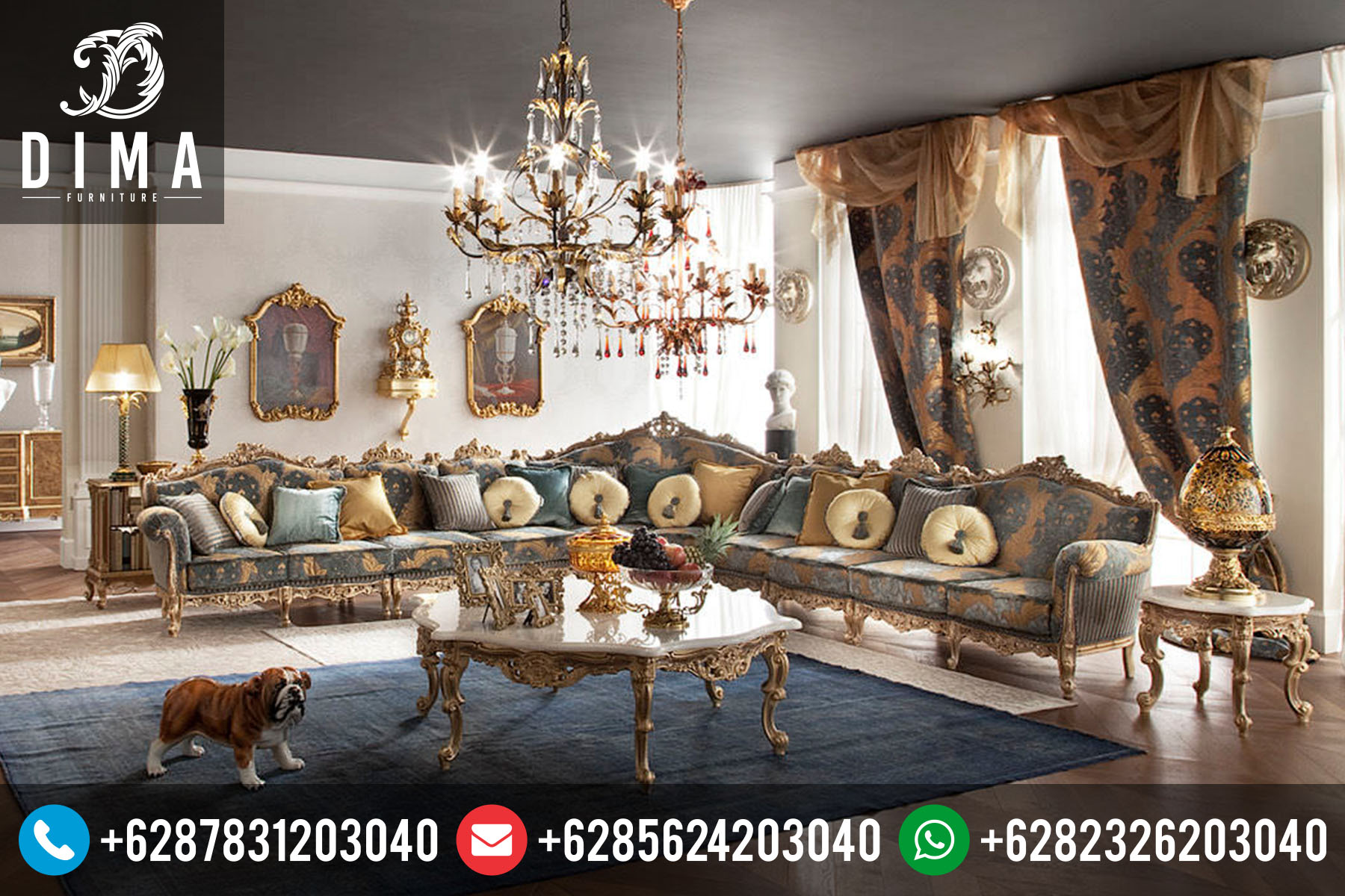 Set Kursi Sofa Tamu Mewah Klasik Sudut L Terbaru Murah ST-0063