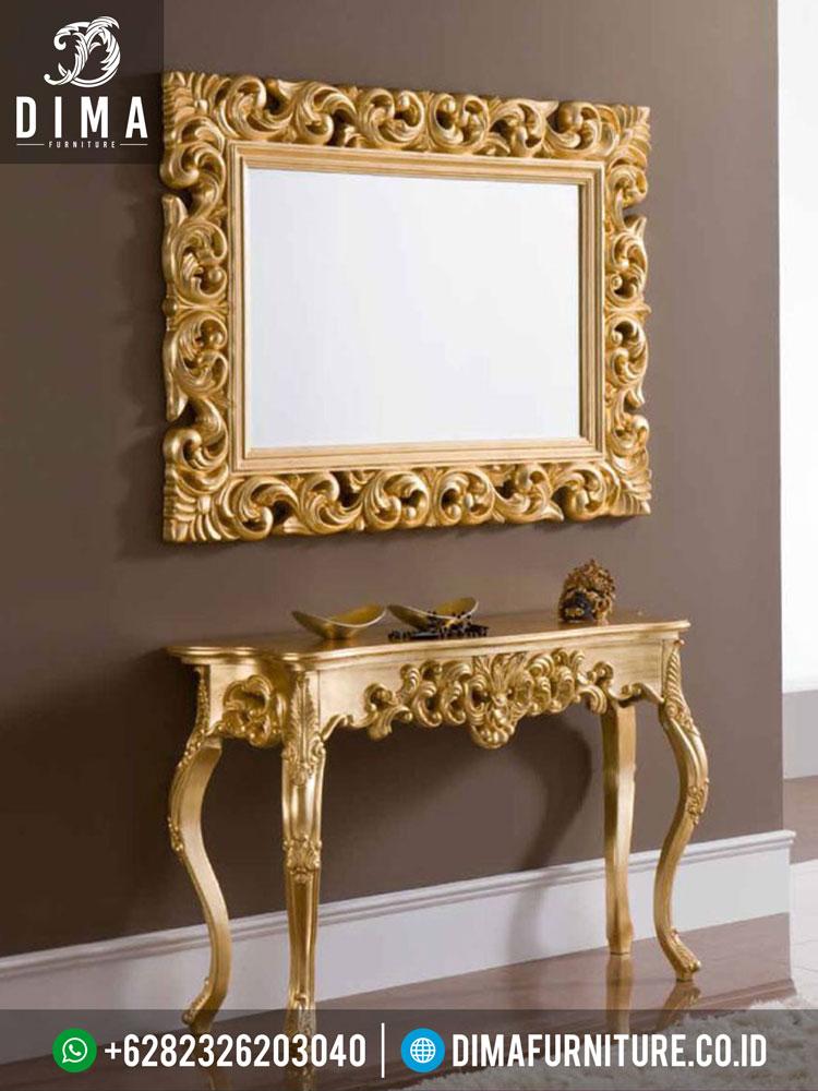 ST-0244 Set Meja Konsul Dan Cermin Hias Gold Duco Mewah Terbaru