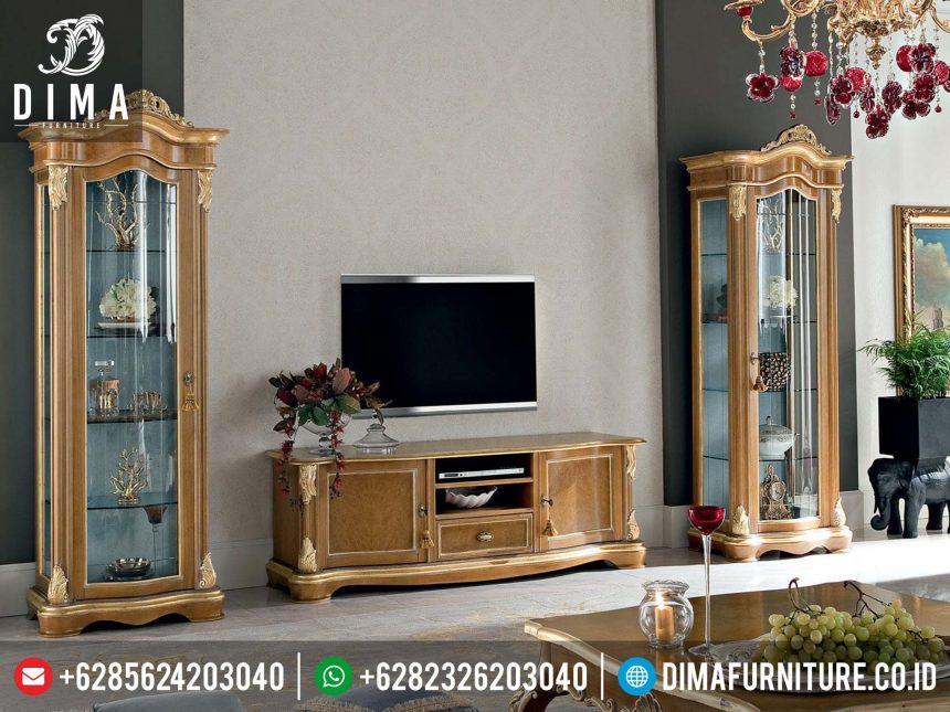 Set Bufet TV Dan Lemari Hias Minimalis Mewah Ukiran Klasik Jepara Terbaru ST-0223