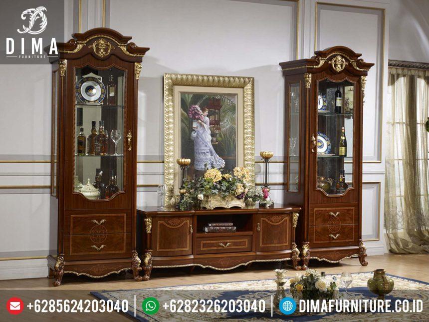 Set Bufet TV Lemari Hias Minimalis, Set Meja TV Mewah Jepara, Lemari Pajangan Classic Terbaru ST-0209
