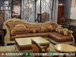 Mebel Ukiran Jepara Set Kursi Sofa Tamu Sudut L Mewah Minimalis Terbaru ST-0297