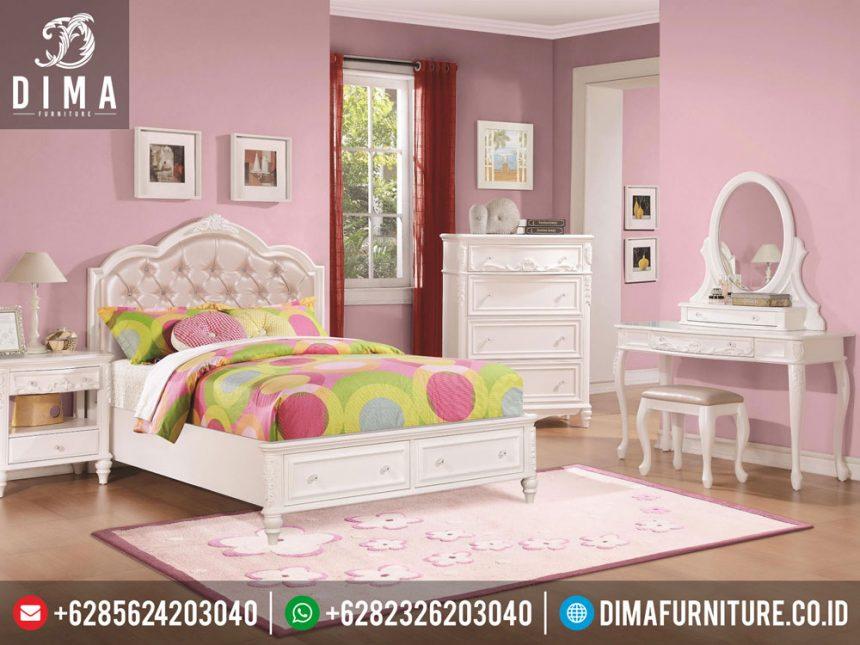 ST-0268 Mebel Minimalis Jepara Set Kamar Tidur Anak Perempuan Caroline Mewah Terbaru