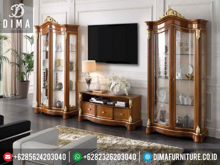 ST-0272 Mebel Jepara Set Bufet TV Minimalis Mewah Klasik Jepara Terbaru Gold