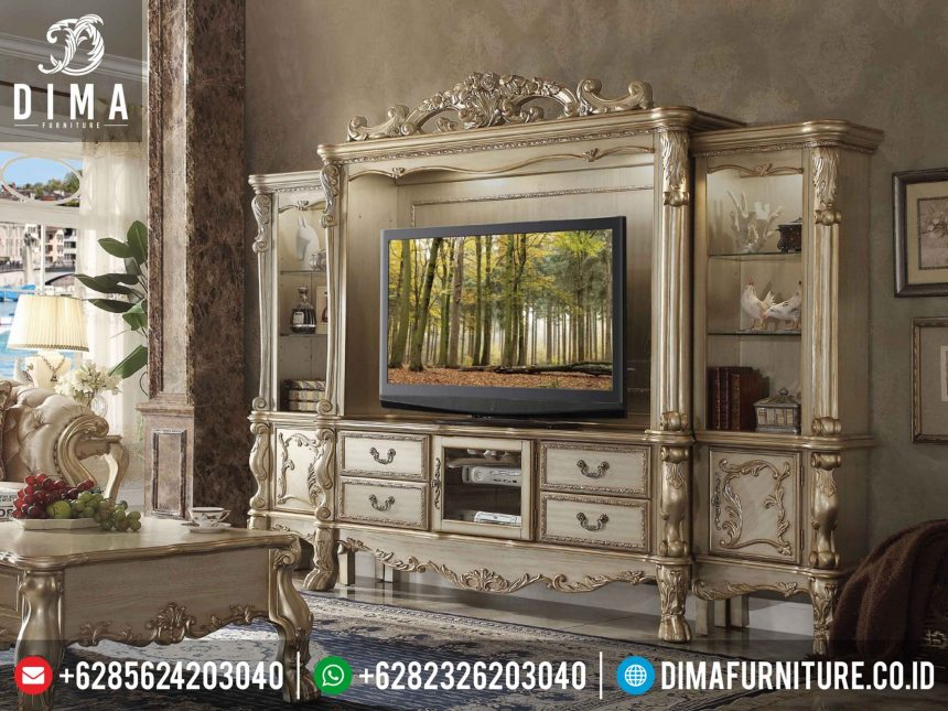 Bufet TV lemari Hias Mewah Klasik Terbaru Dresden Wall Entertainment ST-0340