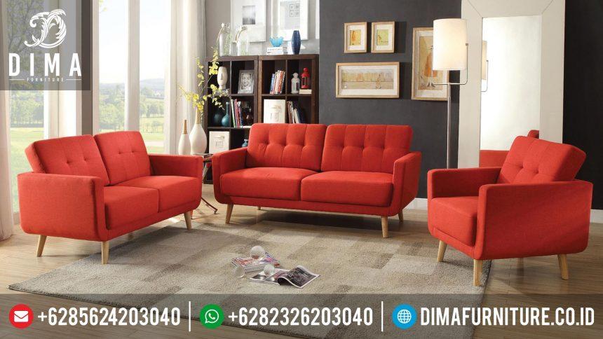 Mebel Terbaru Set Sofa Tamu Minimalis Modern Jepara Kanvas Red ST-0320