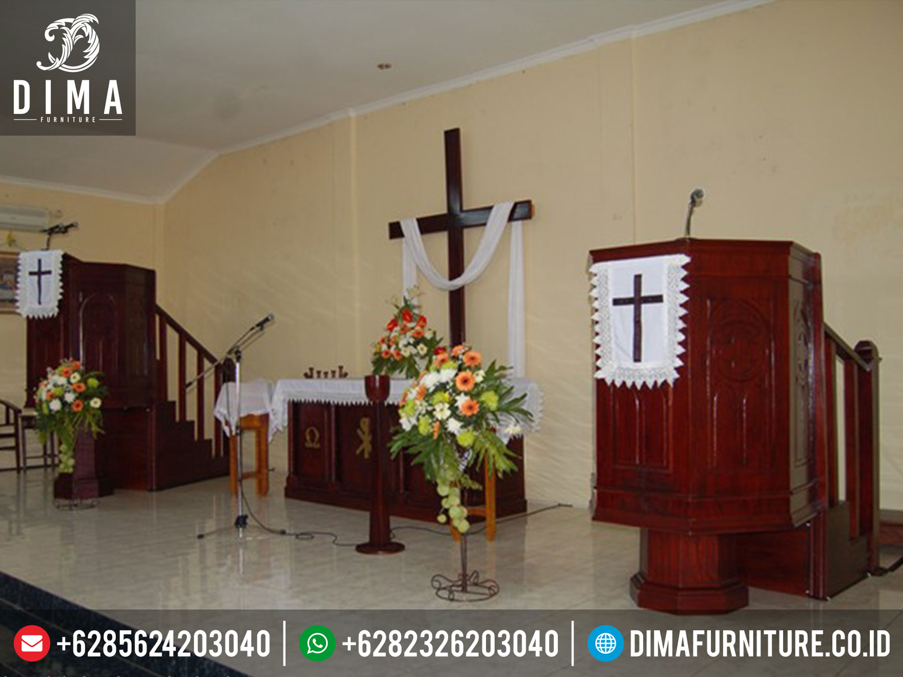 Mimbar Gereja Kristen Minimalis, Podium Gereja Terbaru Jepara, Mimbar Ceramah Gereja ST-0331