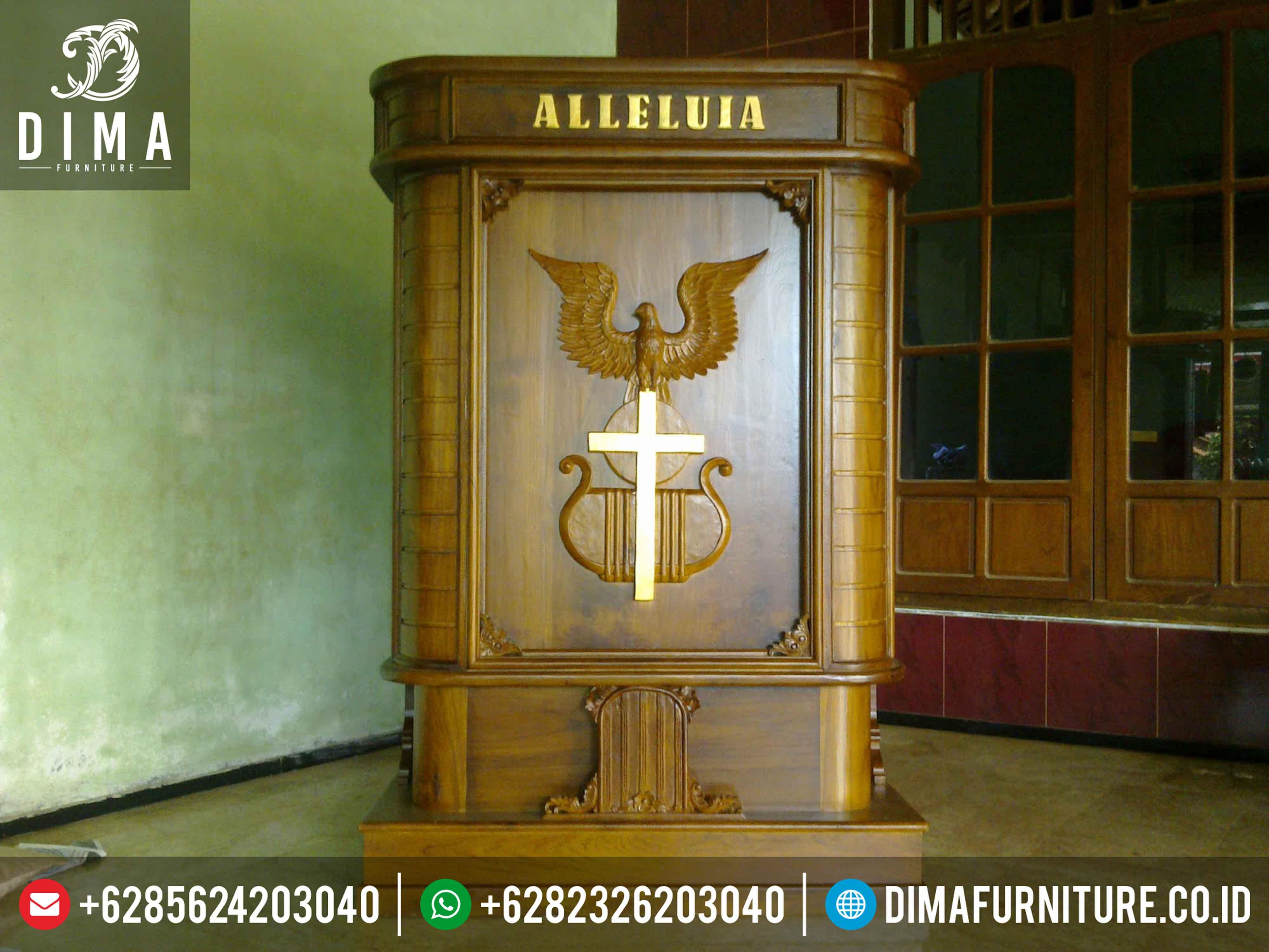 Mimbar Gereja Minimalis Terbaru, Mimbar Gereja Jati Jepara, Podium Mimbar Gereja Jati ST-0330 Gambar 1