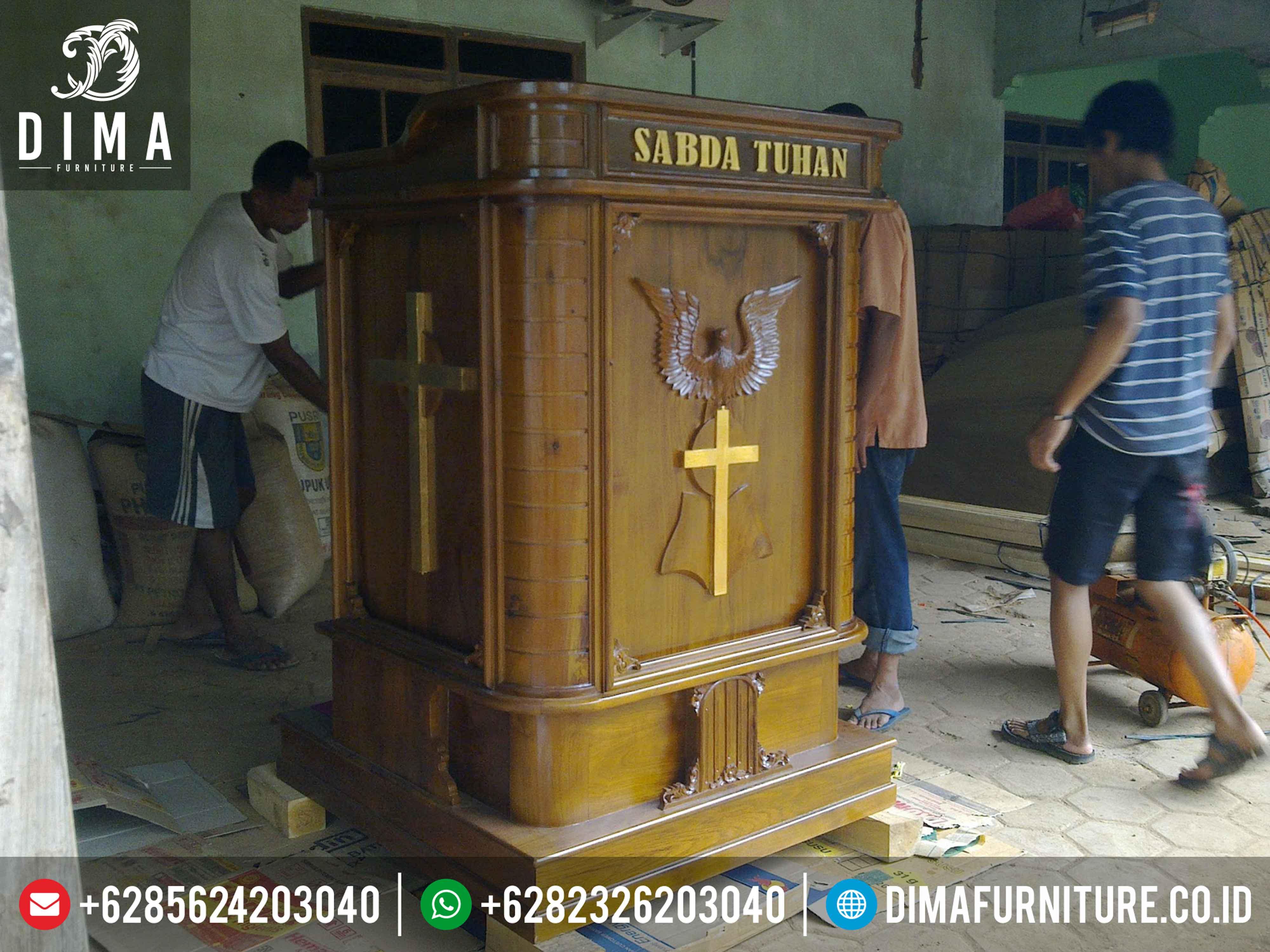 Mimbar Gereja Minimalis Terbaru, Mimbar Gereja Jati Jepara, Podium Mimbar Gereja Jati ST-0330 Gambar 2