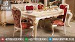 Set Meja Makan Mewah Terbaru Jepara Cat Duco Putih Kombinasi Emas ST-0347