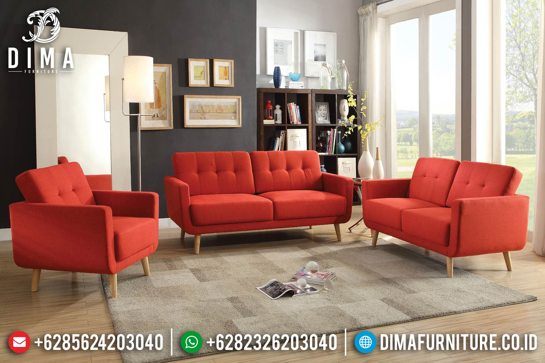 Jual Mebel Jepara Terbaru Set Sofa Tamu Minimalis Modern Cover Merah ST-0411