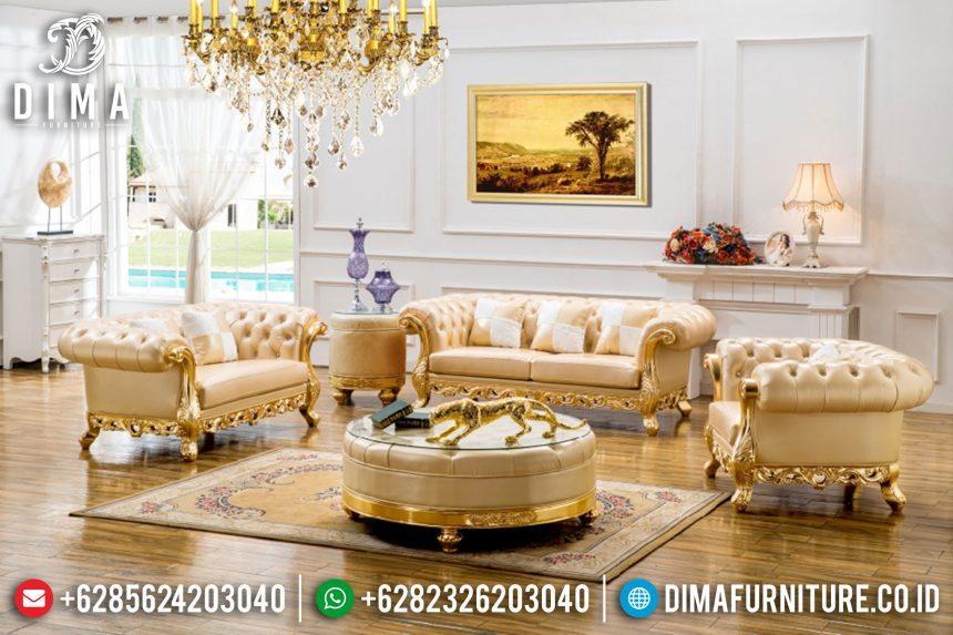 Set Kursi Sofa Tamu Mewah Ukiran Terbaru Warna Emas ST-0410
