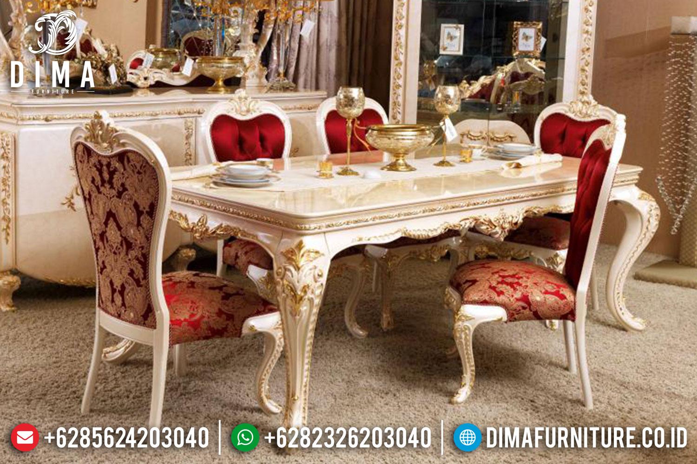 Set Meja Makan Jepara Mewah Model Terbaru Ivory Gold Classic ST-0439