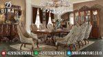 Meja Makan Jepara Mewah Jati Ukiran Klasik Terbaru Seri Swan ST-0456