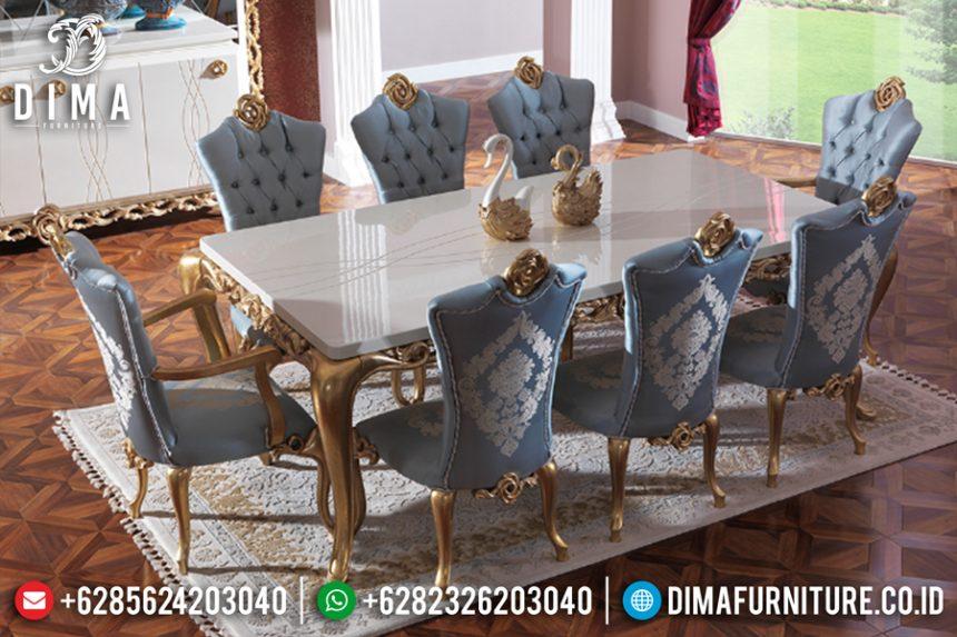 Meja Makan Jepara Terbaru Mewah Klasik Duco Emas Putih ST-0475