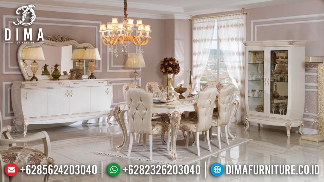 Meja Makan Mewah Furniture Jepara Ukiran Terbaru Cat Duco Ivory ST-0455