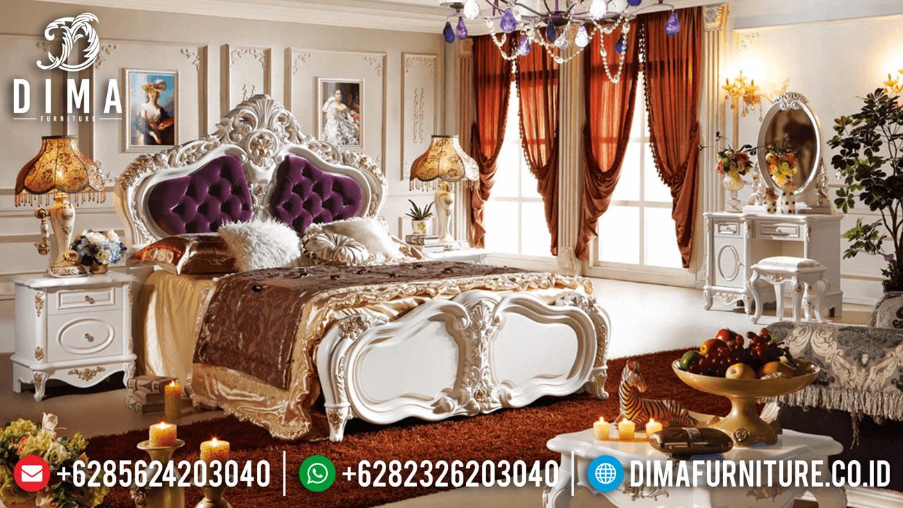 Set Kamar Tidur Mewah Mebel Ukir Jepara Terbaru Duco Ivory Emas ST-0451
