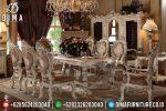 Set Kursi Meja Makan Mewah Terbaru Mebel Jepara Cat Duco Ivory Silver ST-0477