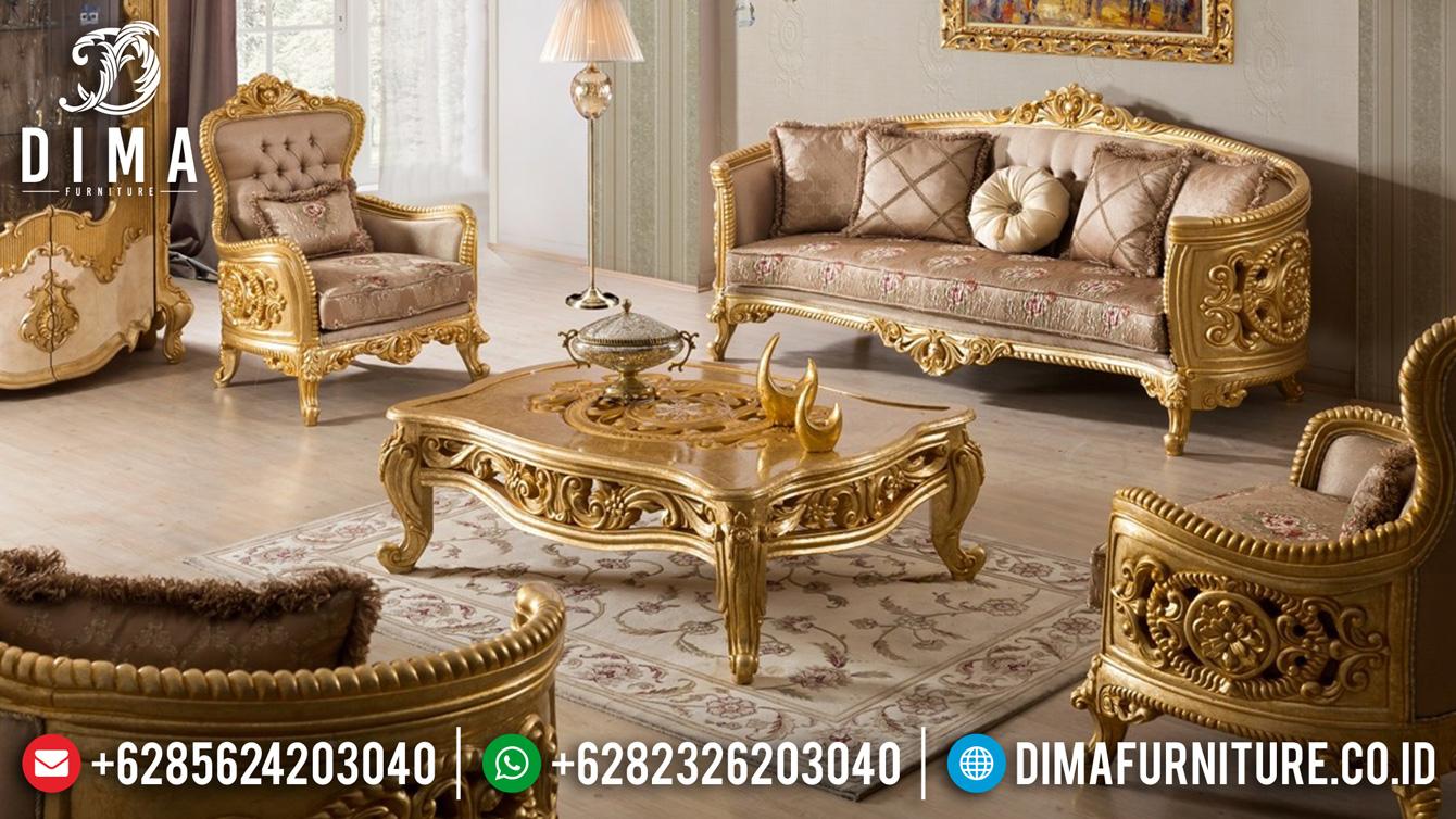 Set Kursi Sofa Ruang Tamu Mewah Ukir Jepara Warna Emas Terbaru ST-0449