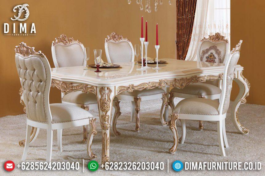 Set Meja Makan Mewah Jepara Ukiran Klasik Duco Ivory Emas Terbaru ST-0476