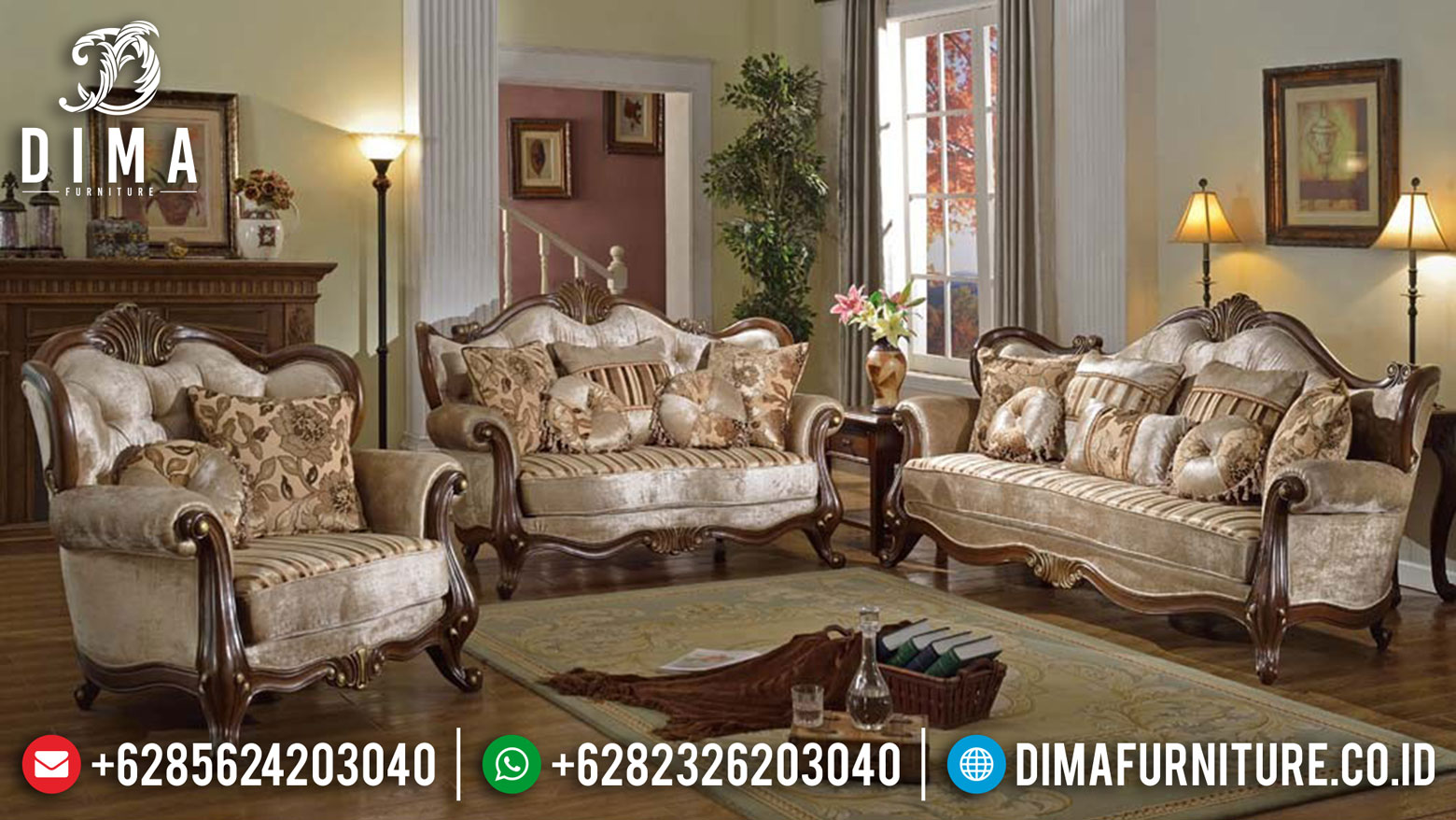 Sofa Ruang Tamu Mewah Terbaru Jati Jepara Partafino ST-0443