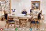 Mebel Jepara Terbaru Meja Makan Mewah Ukiran Klasik Cat Duco Putih Emas ST-0489