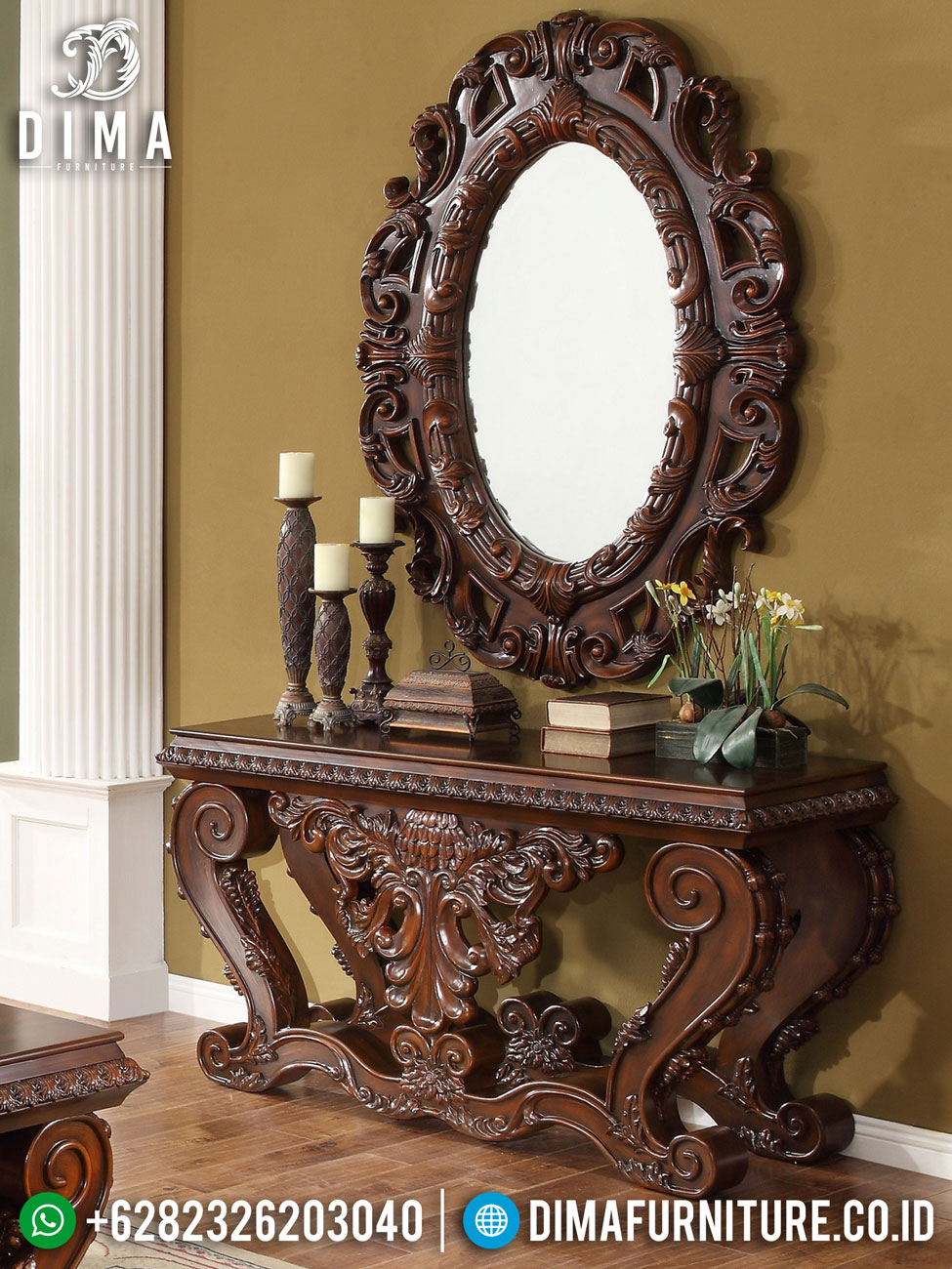 Meja Konsol Jati Jepara, Meja Konsul Mewah Terbaru, Cermin Hias Ruang Tamu ST-0495