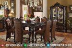 Meja Makan Mewah Jepara Jati Terbaru Ukiran Klasik Natural Salak ST-0488