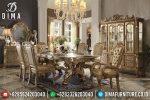 Set Kursi Meja Makan Mewah Ukiran Jepara Terbaru Cat Duco Luxury Gold ST-0490