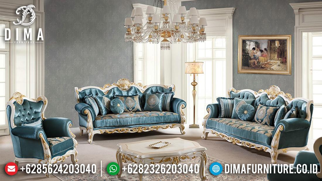 Sofa Tamu Terbaru Mewah Ukir Jepara Klasik Duco Putih Emas Franco ST-0486