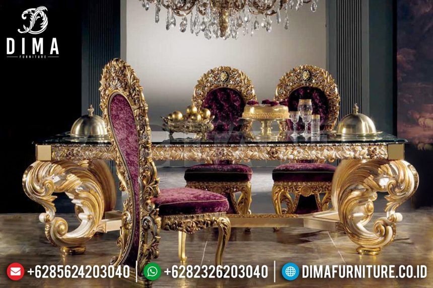 Kursi Meja Makan Mewah Jepara Ukiran Klasik European Style Gold ST-0499