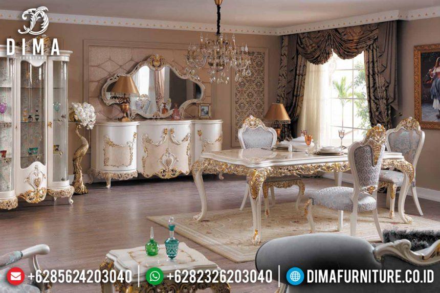 Mebel Jepara Set Meja Makan Mewah Ukiran Klasik Luxury Ivory Gold ST-0501