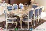 Meja Makan Jepara Mewah Minimalis Terbaru Cat Duco Putih Emas ST-0500