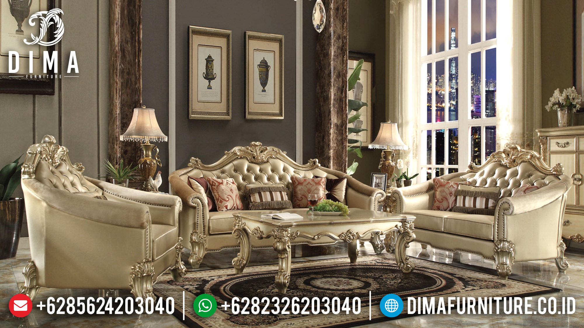 Furniture Set Sofa Tamu Jepara Mewah Vendome Ukiran Terbaru 2018 ST-0516