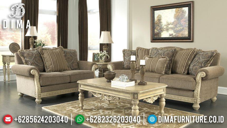Furniture Terbaru Sofa Tamu Jepara Minimalis Mewah Cat Duco Ivory Evist ST-0517