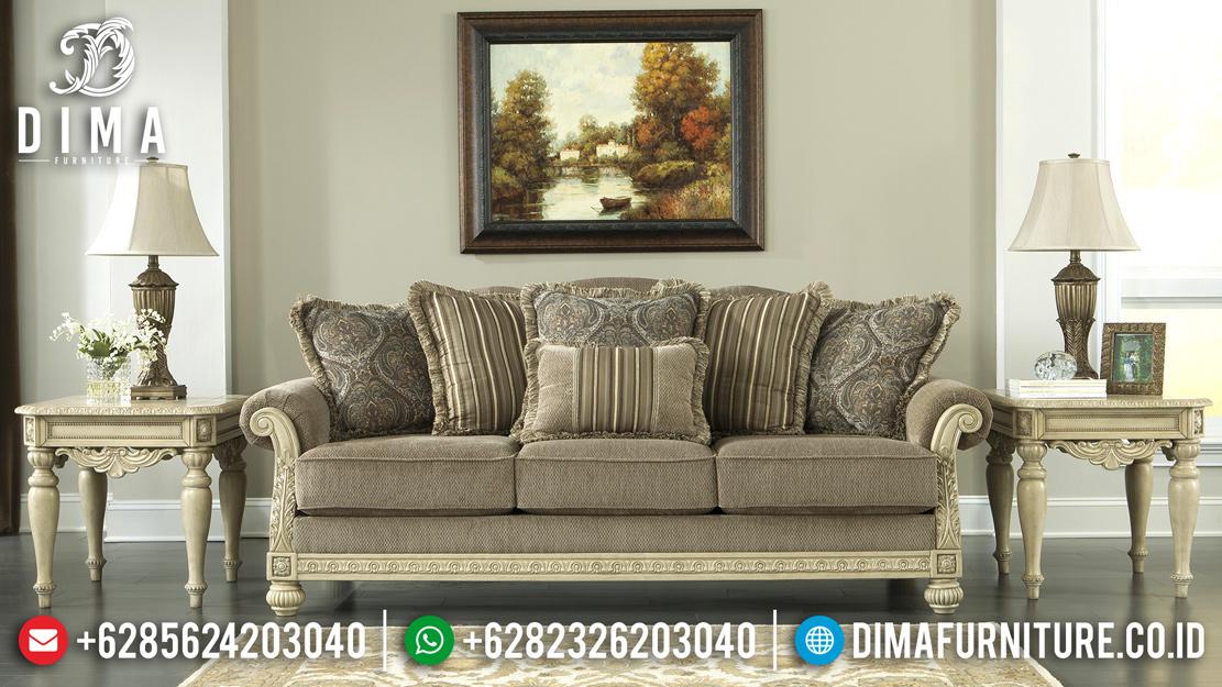 Furniture Terbaru Sofa Tamu Jepara Minimalis Mewah Cat Duco Ivory Evist ST-0517 Gambar 1