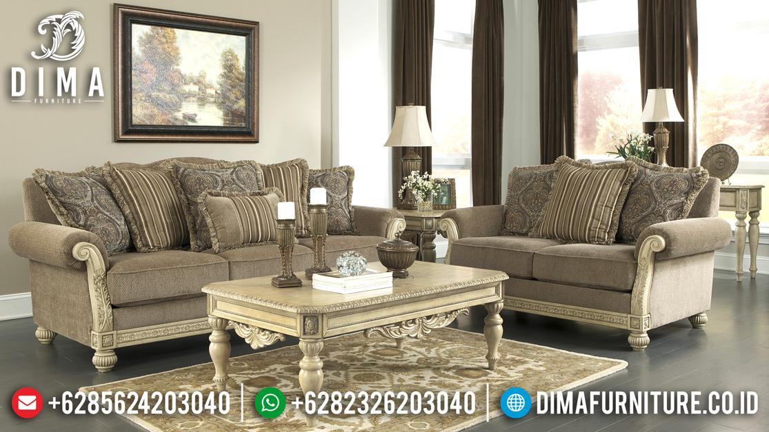 Furniture Terbaru Sofa Tamu Jepara Minimalis Mewah Cat Duco Ivory Evist ST-0517 Gambar 2