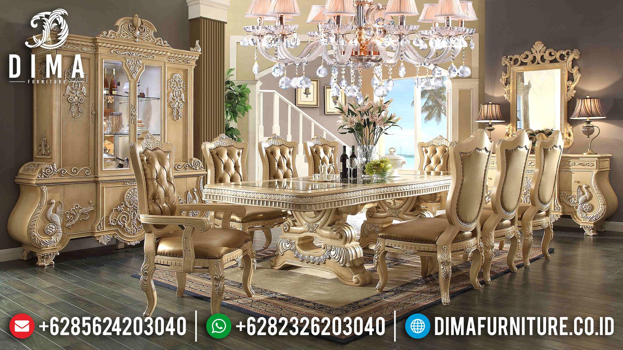 Meja Makan Mewah Jepara Ukiran Klasik Terbaru Eropa Cat Duco Ivory ST-0520