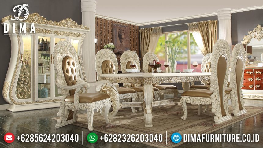 Set Meja Makan Mewah Jepara Ukiran Klasik Luxury Eropa Style Terbaru Duco Ivory Emas ST-0521