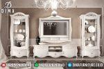 Bufet TV Mewah Jepara Duco Putih Silver Naxos ST-0535