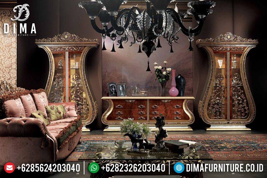 Bufet TV Mewah Klasik Ukiran Jepara Terbaru Natural Emas ST-0538