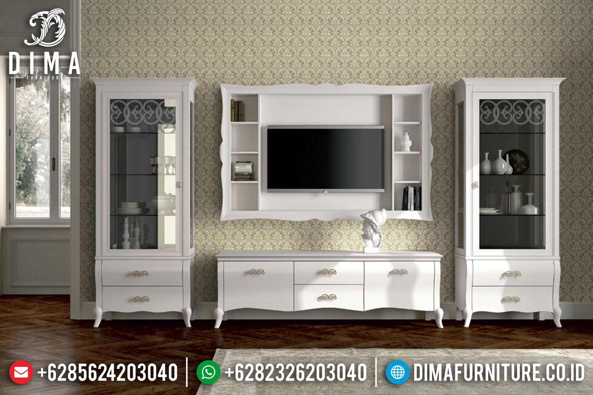 Bufet TV Minimalis Mewah Jepara Terbaru Duco Putih ST-0536