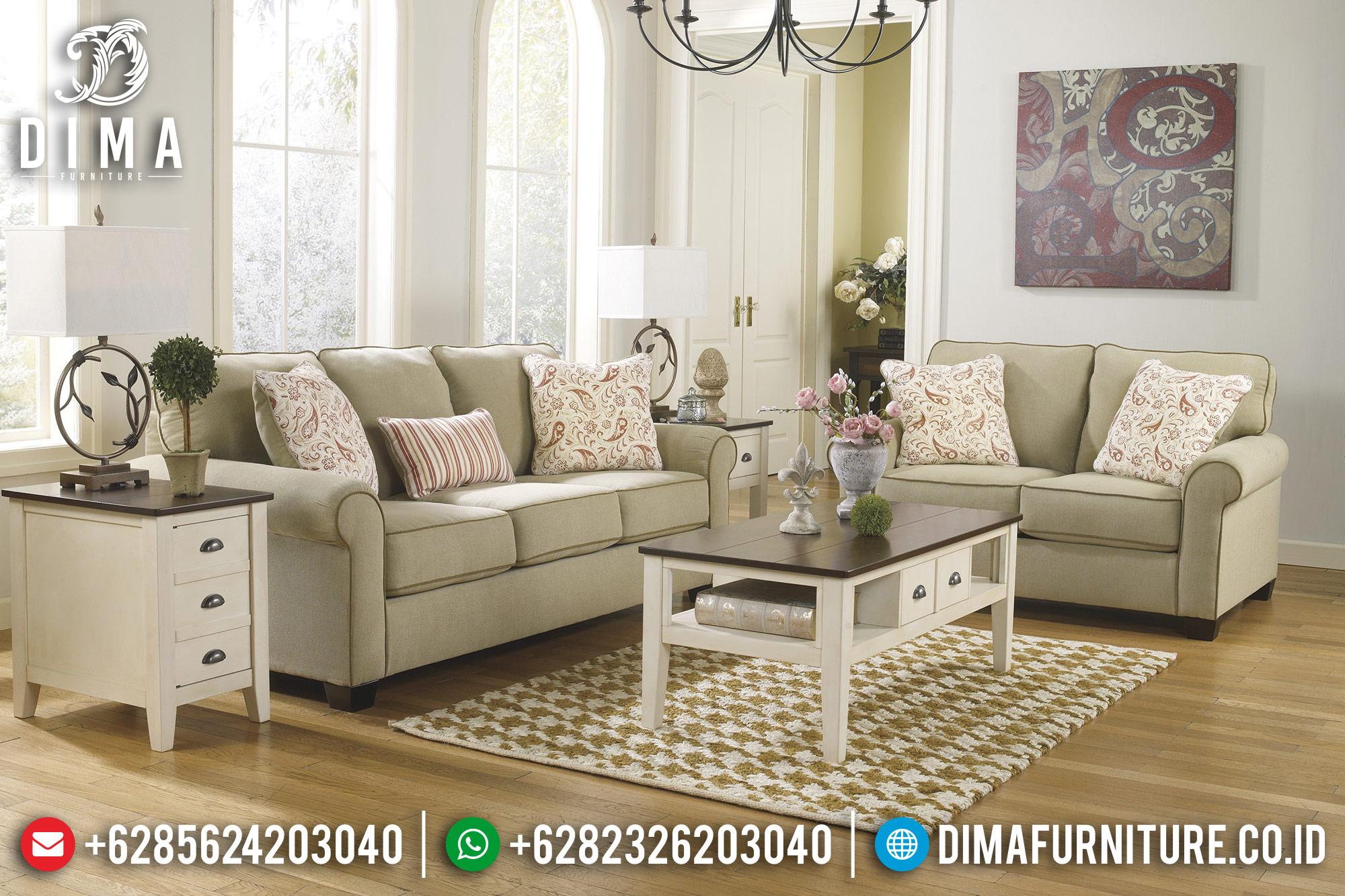 Sofa Tamu Jepara Terbaru Minimalis Mewah Canvas Cream ST-0539