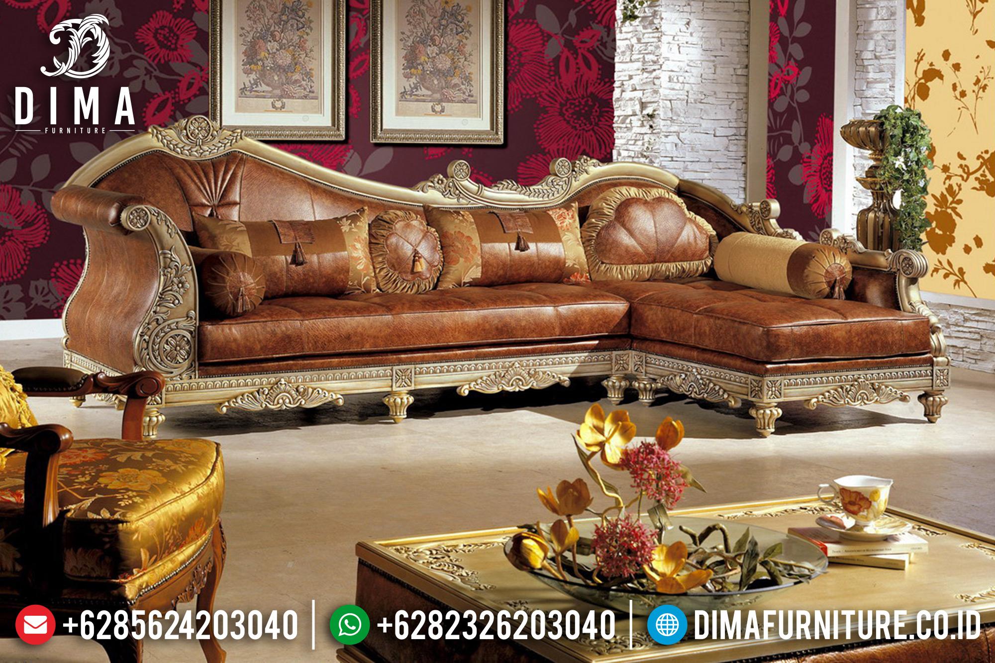 Sofa Tamu Mewah Jepara Sudut L Terbaru Duco Emas Korean Luxury ST-0542