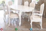 Meja Makan Mewah Duco Ivory Ukiran Jepara Klasik Terbaru ST-0558