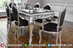 Rococo Silver Duco Set Meja Makan Jepara Mewah Lorensia ST-0557