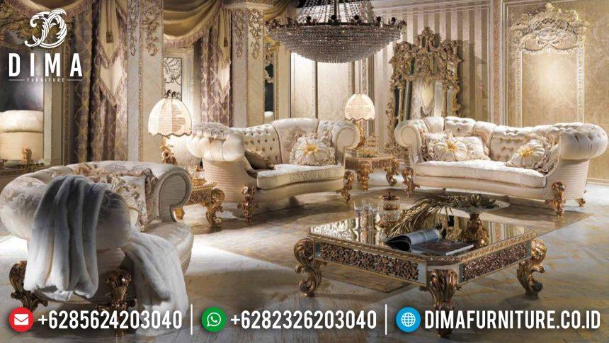 Kursi Sofa Tamu Jepara Mewah Klasik Terbaru Golden Ivory Skin ST-0573