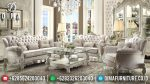 Sofa Tamu Jepara Mewah Classic Vendome Duco Putih Silver Terbaru ST-0583